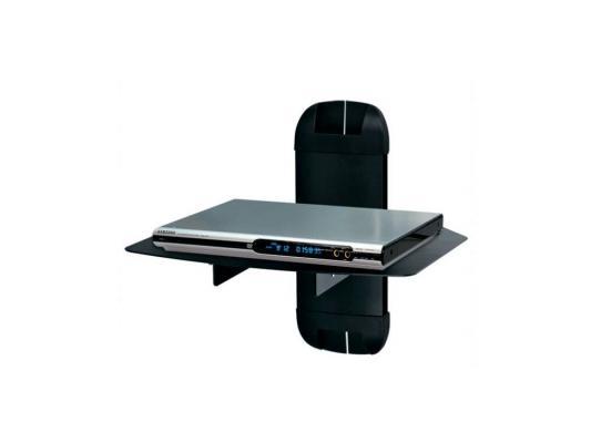 Кронштейн Kromax X-mono black, для A/V систем, настенный, max 10кг, стекло 5 мм, размер полки 270*360, регулировка по высоте, кабель-канал