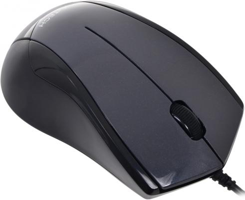 Мышь проводная A4TECH N-400-1 чёрный серый USB