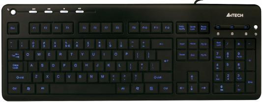 Купить со скидкой Клавиатура A4TECH KD-126-1 USB черный синяя подсветка