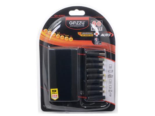 Универсальный адаптер питания для ноутбуков GinzzuGA-4290U (avto, 90W, 1xUSB, 12V-24V, 9 DC-IN)