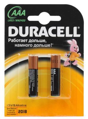Батарейки Duracell LR03-2BL AAA 2 шт набор аккумуляторов duracell recharge aaa nimh 750 mah 2 шт