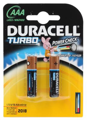 Батарейки Duracell Turbo Max LR03-2BL AAA 2 шт аккумулятор 800 mah duracell turbo hr03 2bl aaa 2 шт предзаряженные