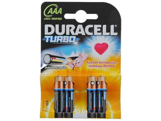 Батарейки Duracell Turbo Max LR03-4BL AAA 4 шт duracell батарейки щелочные duracell turbo aaa lr03 2 шт