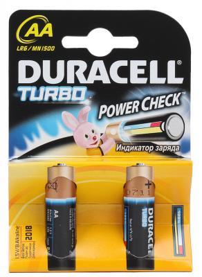 Батарейки Duracell Turbo MAX LR6-2BL AA 2 шт батарейки duracell lr6 4bl turbo max aa 4шт