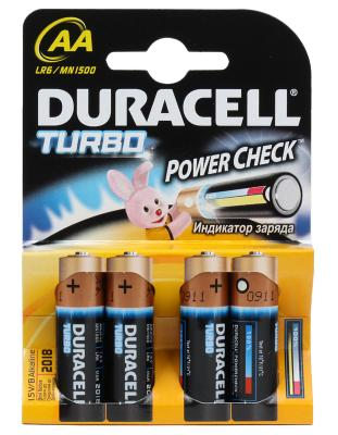 Батарейки Duracell Turbo MAX LR6-4BL AA 4 шт батарейки duracell mn21 b1 security 12v alcaline