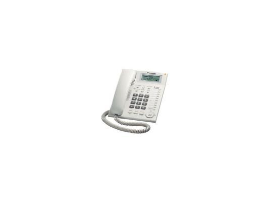 Телефон Panasonic KX-TS 2388 RUW (ЖКИ, спикер, автодозвон, память 50) атс panasonic kx tem824ru аналоговая 6 внешних и 16 внутренних линий предельная ёмкость 8 внешних и 24 внутренних линий