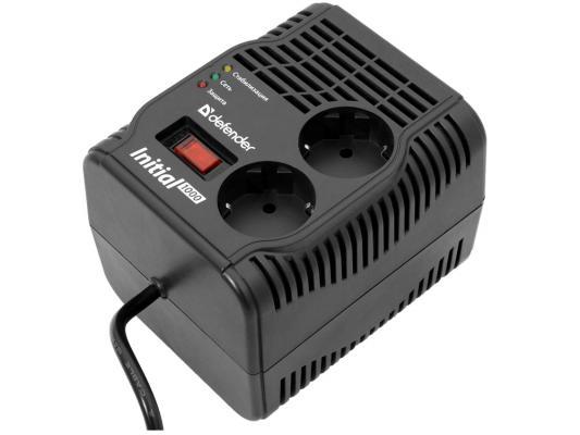 Стабилизатор напряжения DEFENDER AVR Initial 1000 2 розетки 0.6 м черный 99018