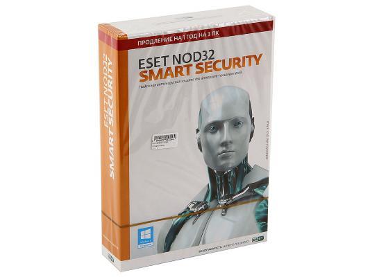 Антивирус  ESET NOD32 Smart Security продление лицензии на 12 мес. на 3ПК (NOD32-ESS-RN-BOX3-1-1) антивирус eset nod32 smart security platinum edition лицензия на 2 года nod32 ess ns box 2 1