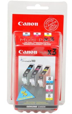 Картридж CLI-8C/M/Y Pixma MP800/MP500/iP6600D/iP5200/iP5200R/iP4200 (3 картриджа в упаковке) картридж cli 8m пурпурный pixma mp800 mp500 ip6600d ip5200 ip5200r ip4200