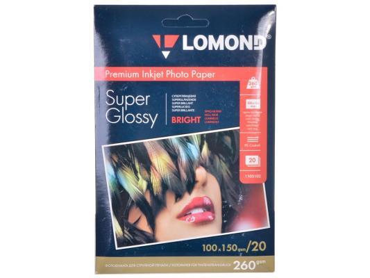 Бумага Lomond 1103102 (100*150, 260гр, 20л) Premium Суперглянцевая, 1стор.