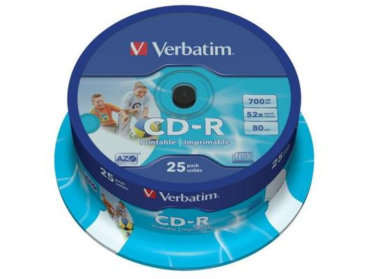 Диски CD-R 80min 700Mb Verbatim 52x 25 шт Cake Box DL, Printable <43439> диски cd r 700mb 52x jewel 10шт printable verbatim 43325 4