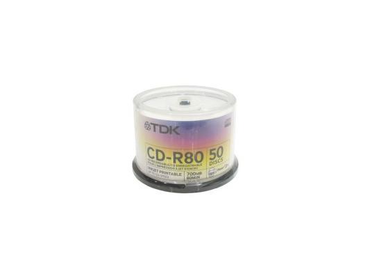 Диски CD-R 80min 700Mb ТDK 52х  50 шт  Cake Box  Printable mitsubishi 100% mds r v1 80 mds r v1 80