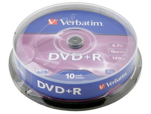 Диски DVD+R 4.7Gb Verbatim 16x 10 шт Cake Box <43498> недорого