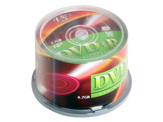 Диски DVD+R 4.7Gb VS 16х  50 шт  Cake box dvd r vs 4 7gb 16х 10шт cake box