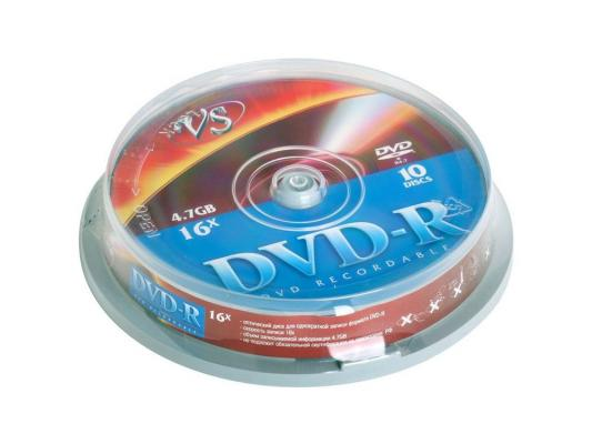 Диски DVD-R 4.7Gb VS 16х  10 шт  Cake Box dvd r vs 4 7gb 16х 10шт cake box