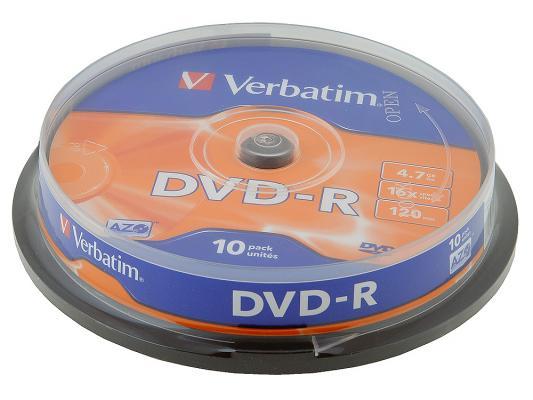 Диски DVD-R 4.7Gb Verbatim 16х 10 шт Cake Box <43523> dvd r verbatim 4 7gb 16х 100шт cake box
