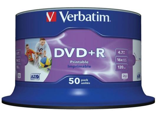 Диски DVD+R 4.7Gb Verbatim 16x 50 шт Cake Box Printable <43651\\512>