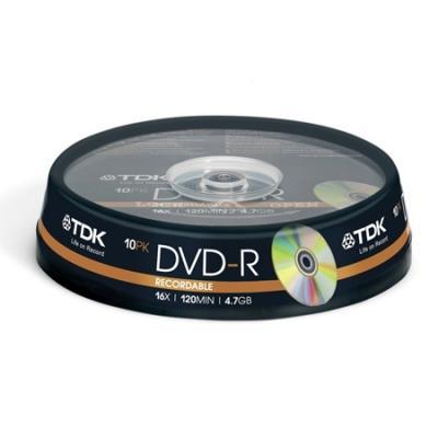 Диски DVD-R 4.7Gb TDK 16x  10 шт  Cake Box диск dvd r 4 7gb 16x bulk 50 шт vs