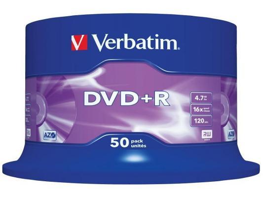 Диски DVD+R 4.7Gb Verbatim 16x 50 шт Cake Box