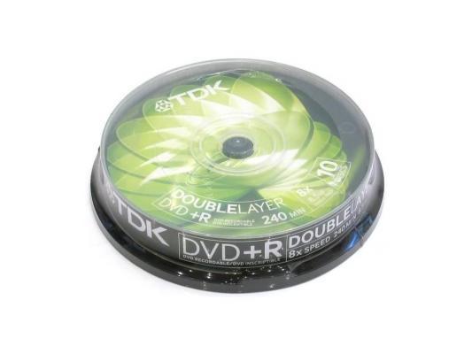 Диски DVD+R 8.5Gb TDK 8x  10 шт  Cake Box  Dual Layer 19924