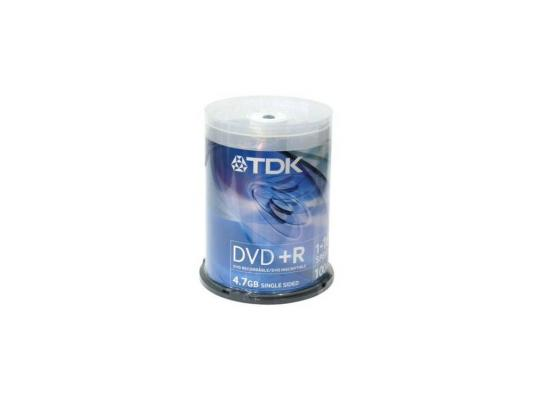 Диски DVD+R 4.7Gb TDK 16x  100 шт  Cake Box  Printable dvd r vs 4 7gb 16х 10шт cake box