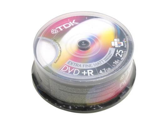 Диски DVD+R 4.7Gb TDK 16x 25 шт Cake Box Printable