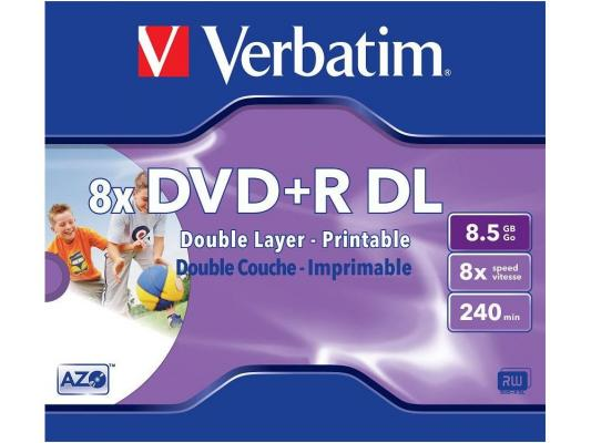 Диск DVD+R 8.5Gb Verbatim 8x  Jewel   Dual Layer  ink print <43664>