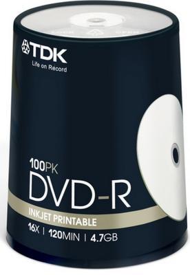 Диски DVD-R 4.7Gb TDK 16x  100 шт  Cake Box  Printable