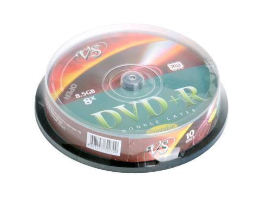 Диски DVD+R 8.5Gb VS 8х  10шт  Cake Box  Double layer printable dvd r vs 4 7gb 16х 10шт cake box