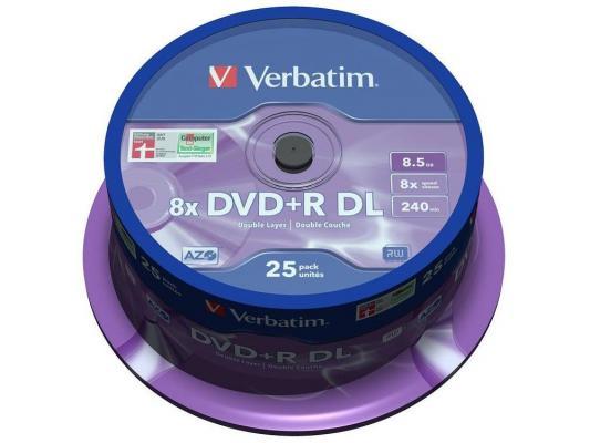 Диски DVD+R 8.5Gb Verbatim 8x 25 шт Cake box Dual Layer (43757) апплика пазл для малышей английский алфавит цвет основы желтый