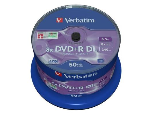Диски DVD+R 8.5Gb Verbatim 8x  50 шт  Cake box  Dual Layer   (43758)