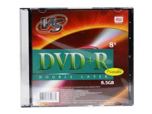 Диски DVD+R VS 8х 8.5Gb Double layer Printable SlimCase 1шт 62067 dvd r vs 4 7gb 16х 10шт cake box