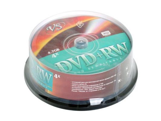 Диски DVD+RW 4.7Gb VS 4х  25 шт  Cake Box dvd r vs 4 7gb 16х 10шт cake box