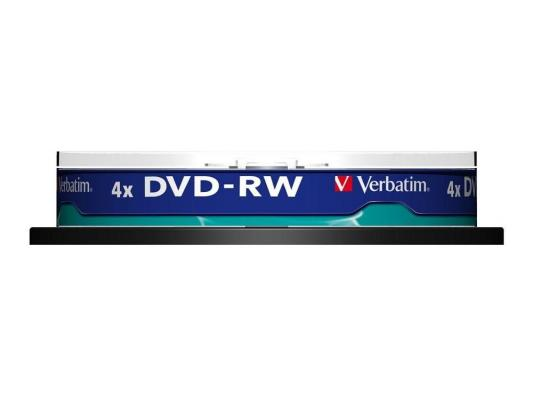 Диски DVD-RW 4.7Gb Verbatim 4x 10 шт Cake Box <43552> dvd r vs 4 7gb 16х 10шт cake box