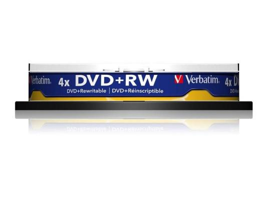Диски DVD+RW 4.7Gb Verbatim 4x  10 шт  Cake Box  <43488> dvd r vs 4 7gb 16х 10шт cake box