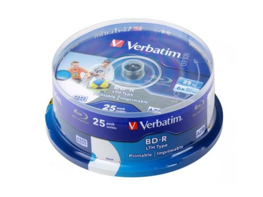 Диск Blu-Ray Verbatim BD-R 6x 25 GB 25 Шт Cake box Printable (43771) LTH 3d blu ray плеер samsung bd j7500