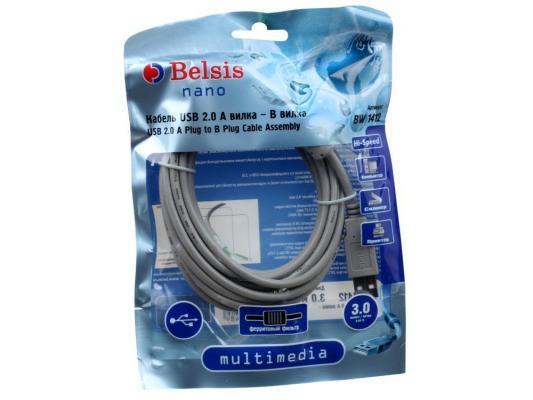 Кабель USB 2.0 AM/BM 3m 1 кольцо, Belsis BW1412 кабель belsis bw1431 microusb 1 8м am microbm 1 кольцо