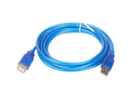 Кабель удлинитель USB 2.0 AM/AF 1.8m Telecom прозрачная, голубая изоляция VU6956