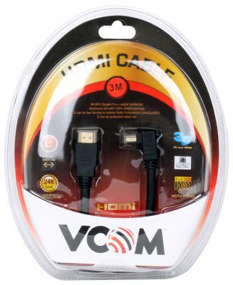 Кабель Vcom HDMI 19M/M-угловой коннектор 3м, 1.4V позолоченные контакты <VHD6260D-3MB> кабель vcom hdmi 19m m угловой коннектор 5м 1 4v позолоченные контакты
