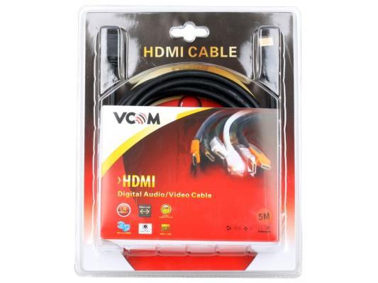 Кабель Vcom HDMI 19M/M-угловой коннектор 5м, 1.4V позолоченные контакты <VHD6260D-5MB> Blister переходник aopen hdmi dvi d позолоченные контакты aca311
