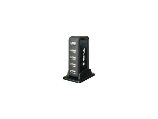 Концентратор USB 2.0 Orient KE-700NP, 7 Port + БП 5V, 1A, black, ret
