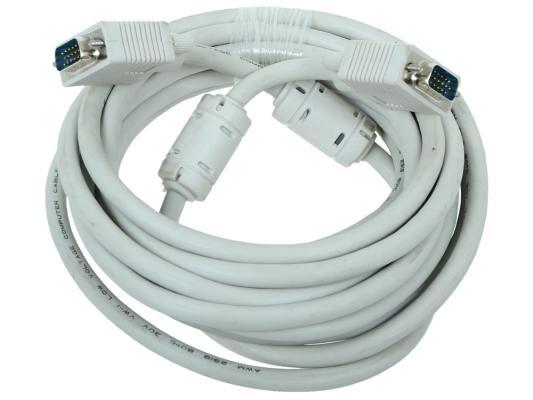 Кабель VGA Premium Gembird, 5.0м, 15M/15M, тройн.экран, феррит.кольца, пакет CC-PPVGA-5M кабель для монитора vga 15m 15m 15 0 метров cablexpert