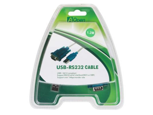 Кабель-адаптер USB AM <-> COM port 9pin (добавляет в систему новый COM порт), Aopen <ACU804>