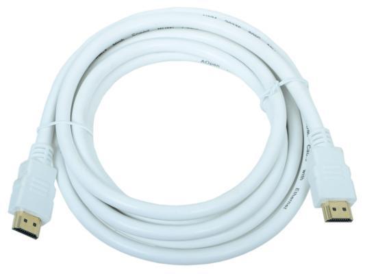 Кабель AOpen HDMI 19M/M 1.4V+3D/Ethernet <ACG511W-3M> 3m, белый, позолоченные контакты переходник aopen hdmi dvi d позолоченные контакты aca311