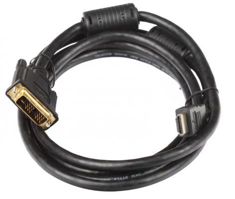 Кабель Telecom  HDMI to DVI-D (19M -19M) 2 фильтра, 2м   , с позолоченными контактами
