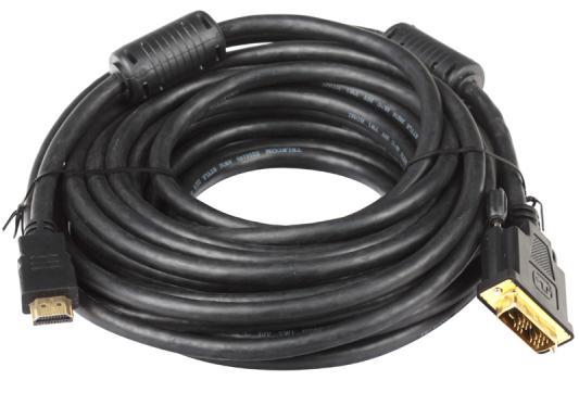 Кабель Telecom HDMI to DVI-D (19M -19M) 2 фильтра, 10м , с позолоченными контактами кабель hdmi dvi d 19m 19m 5м telecom с позолоченными контактами