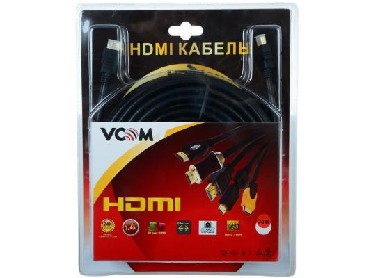 Кабель Vcom HDMI 19M/M ver:1.4+3D, 20m, позолоченные контакты, 2 фильтра <VHD6020D-20MB> Blister кабель питания для ноутбуков 3 0м vcom telecom ce022 cu0 5 3m