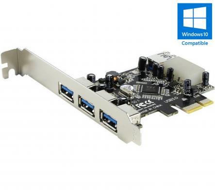 Контроллер Orient  VA-3U31PE PCIe to 3 port ext, 1 port int USB 3.0, допольнительный разъём питания, VIA, ret