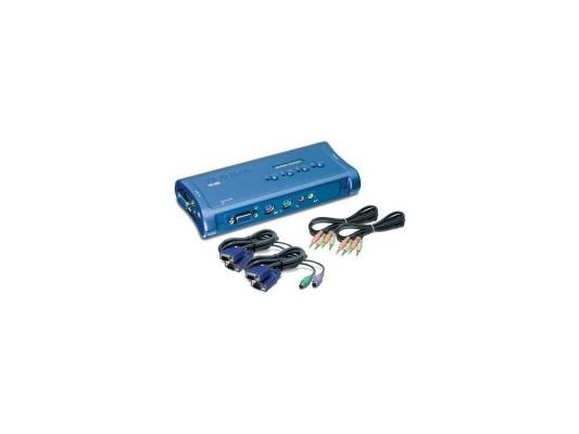 KВM коммутатор Trendnet TK-408K (элек. коммутатор 4-х ЦПУ с кабелем+аудио ,PS/2)