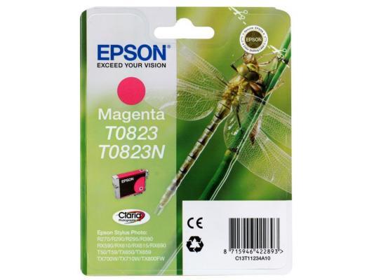 Картридж Epson Original T08234A (пурпурный) для R270/390/RX590 (C13T11234A10) картридж epson original t08264a светло пурпурный для r270 390 rx590 c13t11264a10